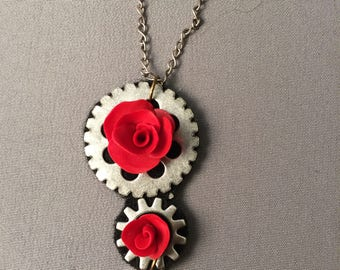 Double Red Roses on Steampunk Gears with a Heart Charm