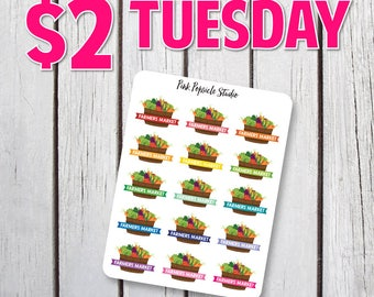 Two Dollar Tuesday - Farmers Market Planner Stickers Designed For Erin Condren Life Planner Vertical