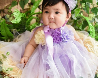 Tulle Girl dress wedding bridal recital children purple pink