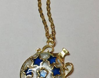 UV resin pendant magic blue and white star jar with glitter