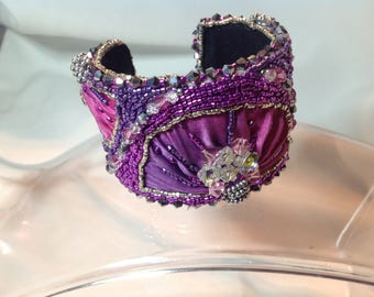 Purple and pink Shibori silk aluminum cuff bracelet with Delica seed beads and Swavorski crystal