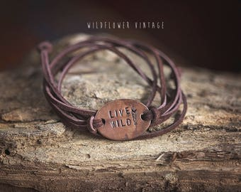 Live Wild Suede Leather Wrap Bracelet | Hand-Stamped Copper Chocolate Brown Customized Jewelry Outdoorsy Feather Gypsy Soul