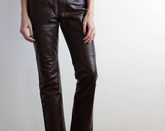 90's leather pants / brown leather pants / brown pants / bootcut pants / 90's vintage pants / Gap leather pants / mid-rise pants