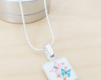 20mm square glass Butterfly Necklace