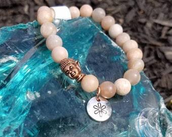 Natural matte sunstone inspirational bracelets