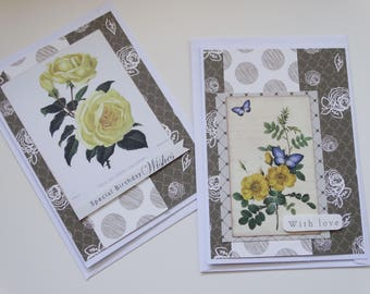 Happy Birthday and With Love cards, Set of 2 A6 Cards