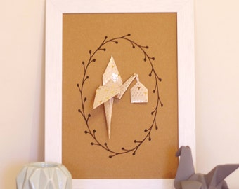 A4 print patterned graphic Stork beige/gold origami - wall decor for nursery baby girl birth gift