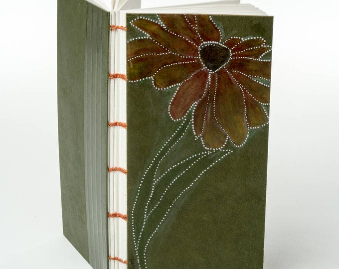 ABSTRACT FIREY DAISY small handmade coptic bound blank book diary journal notebook original pencil drawing cover   aBoBoBook 207