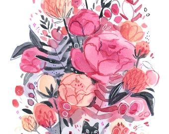 Black Cat in Flower Forest -- Art Print