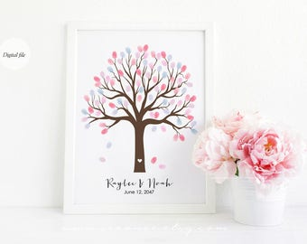 Thumbprint tree guestbook alternative, Fingerprint tree, Family tree, Baby shower gift, Birthday, Wedding tree, Teacher gift Digital file