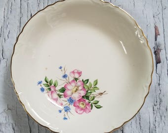 Vintage Glass China Soup Serving Bowl Pink Floral Shabby Chic