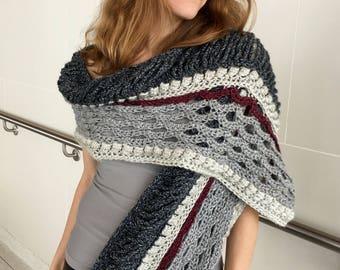Crochet Shawl PATTERN, Crochet Wrap Pattern, Scarf Pattern, Womens Scarf Pattern, Shoulder Wrap, Crochet Top, Crochet Garment, PDF, DIY