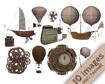 Steampunk Clip Art - Steampunk Clipart, Steam Punk, Flying Machine, Machine Clipart, Steam Graphics, Weather Balloon, Gear Clipart, Flying