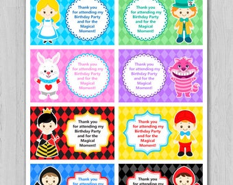 Alice in wonderland Thank You Tag, Alice in wonderland Thank You Card, Alice in wonderland Favor Tag