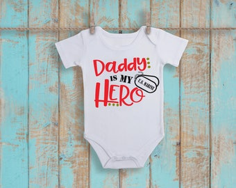 U.S. Marine Corp Daddy Is My Hero Baby Shower Idea Girl Boy Toddler Clothes Romper Shirt Tee Coming Home Veterans Day Birthday Armed Forces