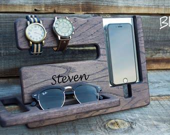 Dark desk organizer Personalized men docking station Gift for Man Christmas gift for men Christmas boyfriend gift Iphone 7 Gift for husband