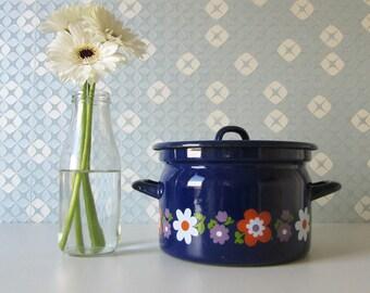 Vintage Enamel Blue Pan with Orange, Purple, and White Retro Floral Design 17104