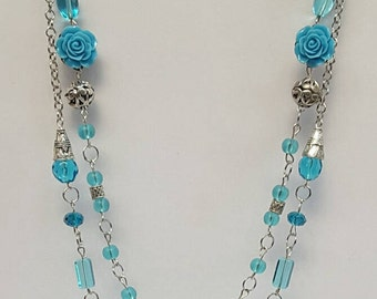Long Blue Necklace, Double Strand Necklace, Blue Jewelry, Australian Made, Statement Necklace, Long Victorian Necklace, Gift for Her, Boho