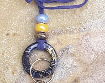 Lanyard, ID Badge Holder, Faux Suede Lanyard, Faux Suede ID Holder, Blue Lanyard, Blue ID Badge Holder, Australian Made, Key Holder