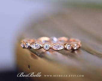0.84 ct.tw Eternity Band Ring-Marquise & Brilliant Cut Stones-Wedding Ring-Stackable Ring-Rose Gold Plated-Sterling Silver [1214RG]