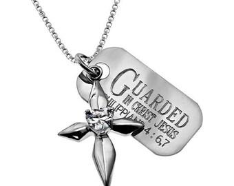 Dagger star cross necklace /Custom Verse Tag- Women's