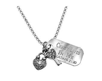 Heart/Key Necklace/Custom Verse Tag- Women's
