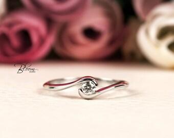 Bezel Engagement Ring 18K Gold Ring Real Diamond Ring Low Profile Engagement Ring White Gold Diamond Ring White Gold Engagement Ring