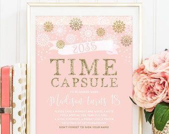 Winter Onederland Time Capsule Sign Winter Birthday Pink And Gold Birthday Decor baby Girl Birthday Printable Time Capsule Sign DIGITAL