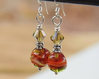 Shiny Sterling Silver Earrings with Vintage Red and Olive Venetian Nugget Glass Beads.   Red and Olive Beaded Earrings with 925 Silver.