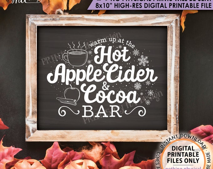 """Hot Cocoa, Apple Cider, Warm Up at the Hot Apple Cider & Cocoa Bar, Halloween Fall Autumn, Chalkboard Style PRINTABLE 8x10"""" Instant Download"""