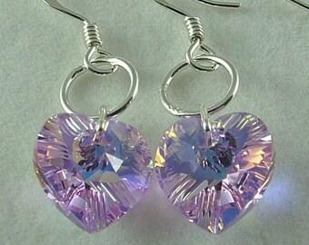 Swarovski Violet AB crystal heart drop earrings