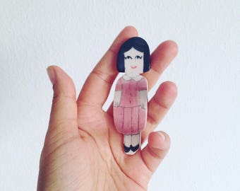 Les filles, series of handmade ceramic brooches with a retro style