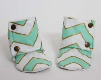 Baby slippers, Stay-on booties, Mint Chevron, Metallic gold, Minky, Cotton, Toddler boots, Warm and Cozy, Shower gift, Newborn, Kid shoes