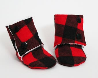 Baby slipper booties, Red Plaid, Black, Buffalo, Stay-on boots, Minky and cotton, Toddler, Kid, Children slippers, Gift idea, Winter