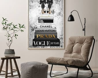 Large, Black, white, Grey, silver, gold, Fashion wall art, fashion books, fashion illustration, shoes, fashion print, wall art, heels, stack