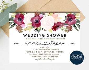 Winter Wedding Shower Invitation, Floral Bridal Shower Card, Couples Shower Invite, Editable Card Printable Instant Download Wedding Invite