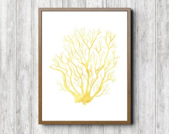 11 x 14 - 5 x 7 - 8 x 10 Sea Coral Wall Art - Watercolor Sea Life Poster - Beach Theme Kids Room/ Nursery Wall Decor- Golden Yellow- Digital