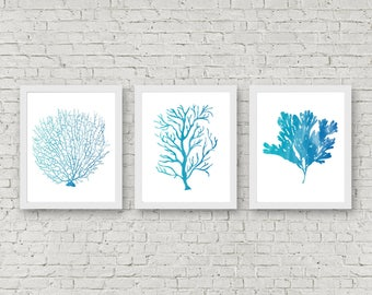 Exceptionnel Instant Download   Set Of 3 Art Prints   Watercolor Sea Coral Wall Art   Fan