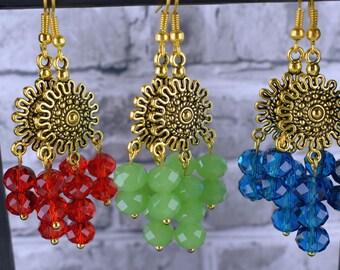 Gold earrings, Red earrings, Chandelier earrings, Dangle earrings, Blue earrings, Green earrings, Bohemian jewellery, Gypsy jewelry, UK
