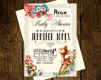 Woodland Baby Shower Invitations Personalized Custom Printed Set of 12 Party Invites Forrest Animals Baby Deer Bluebirds Vintage Ecru