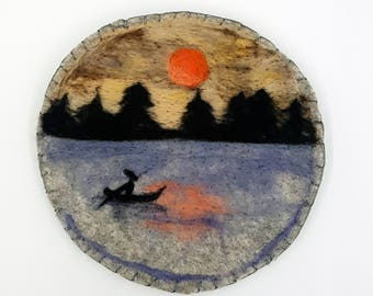 Wool Painting Sunset Moon Night Painting Small Wall Hangings Gift for Him Gift Idea Original Painting Wool Felting Round Tapestry Felted Art