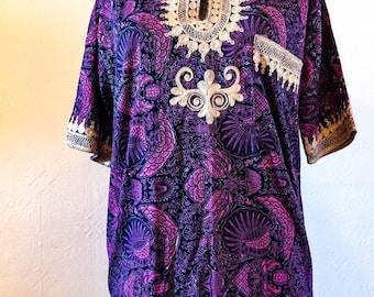 Vintage 1970's Hippie Purple Shirt, Gorgeous Fabric