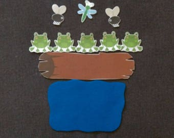 5 Little Speckled Frogs  // Felt Board Story // Flannel Board Story Set // Preschool // Teacher Story // Counting //