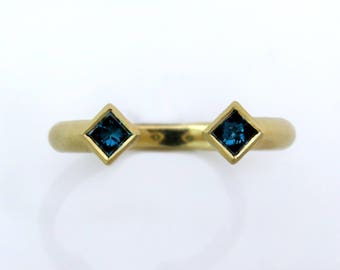 Blue diamond ring, unique engagement ring, square stone ring, double Stone Ring, modern gold ring, 18K gold cocktail ring, minimalist ring