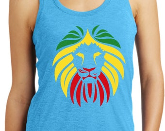 Ladies Rasta Lion Head Racerback Tank Top LIONHEAD-DM138L