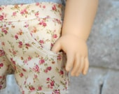 Rose Floral Shorts w/ Working Pockets for American Girl Dolls