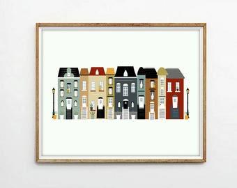 houses illustration, houses print,5 SIZES INCLUDED, houses printable, city print, cityscape print, digital illustration,nursery decor