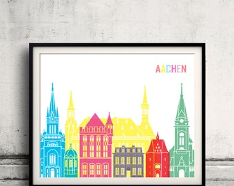 Aachen skyline pop - Fine Art Print Glicee Poster Gift Illustration Pop Art Colorful Landmarks - SKU 2348