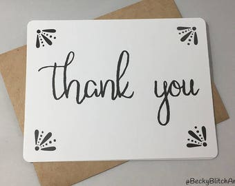 Thank you card- Thank you card set- Wedding thank you cards- Hand lettered thank you card- Black and white thank you cards- Thank you notes