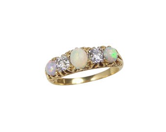 Victorian Opal Diamond Ring, In 18ct Gold, Antique Opal Diamond Ring, Opal Ring, Opal Engagement Ring, Victorian Engagement Ring